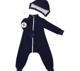 Bambinizon Fleece Overall Navy Baby
