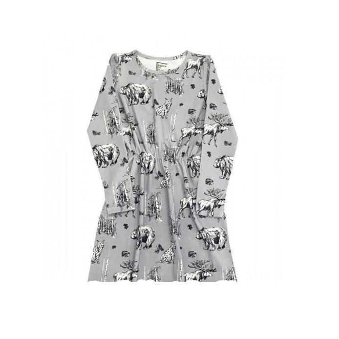 Kleid mit Tieren in grau, langarm, Bio-Baumwolle ...